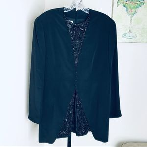 Badgley mischka Navy beaded silk tunic size 12